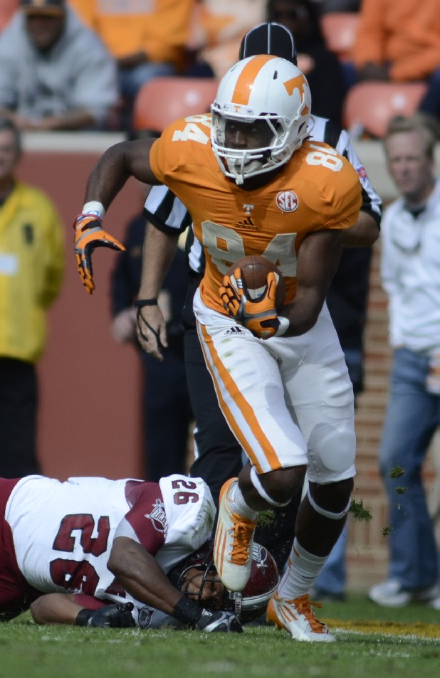 UT's Cordarrelle Patterson runs against Troy at Neyland Stadium in Knoxville.