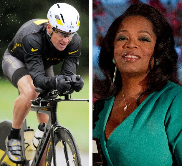 This combination image made of file photos shows Lance Armstrong, left, on Oct. 7, 2012, and Oprah Winfrey, right, on March 9, 2012. According to a release posted on Oprah's website on Tuesday, Jan. 8, 2013, Armstrong has agreed to a rare televised interview that will air next week and will address allegations that he used performance-enhancing drugs during his cycling career.