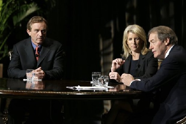 Journalist Charlie Rose, right, makes opening comments as Rory Kennedy, center, and Robert F. Kennedy Jr. look on before Rose conducted an interview Friday in front of a full audience at the AT&T Performing Arts Center in Dallas. The Kennedys are in Dallas as a year of observances begins for the 50th anniversary of President John F. Kennedy's assassination.