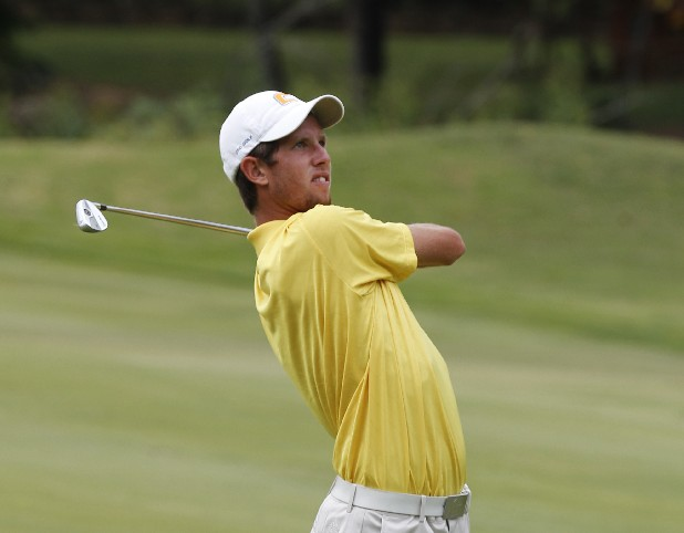 UTC golfer Steven Fox takes a shot during the 2012 Carpet Capital Collegiate golf tournament, held at The Farm Golf Club in Rocky Face, Ga.