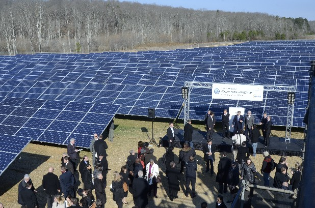 Volkswagen and city officials flipped on the switch to the new solar park Wednesday morning.