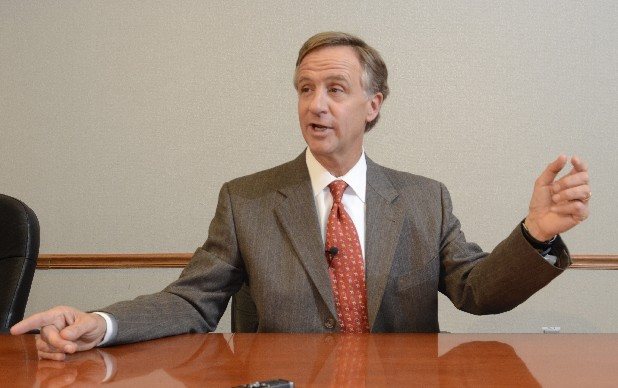 Tennessee Gov. Bill Haslam answers questions during a meeting with the Times Free Press editorial board.