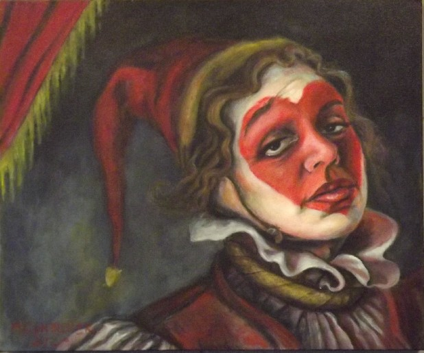 Clowns and jesters are recurring subjects in Smelcher's work.