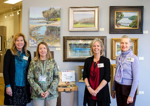Artists Ellen Franklin, Victoria Pearmain, Marie Miller and Janis Wilkey, at the opening of their exhibit at In-Town Gallery.