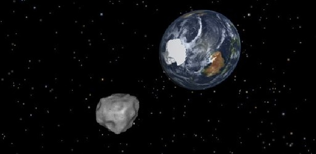 This image provided by NASA/JPL-Caltech shows a simulation of asteroid 2012 DA14 approaching from the south as it passes through the Earth-moon system on Feb. 15. The 150-foot object will pass within 17,000 miles of the Earth. NASA scientists insist there is absolutely no chance of a collision as it passes.