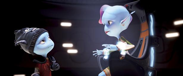 "Kip (voiced by Jonathan Morgan Heit) and Kira (Sarah Jessica Parker) in ""Escape From Planet Earth."""