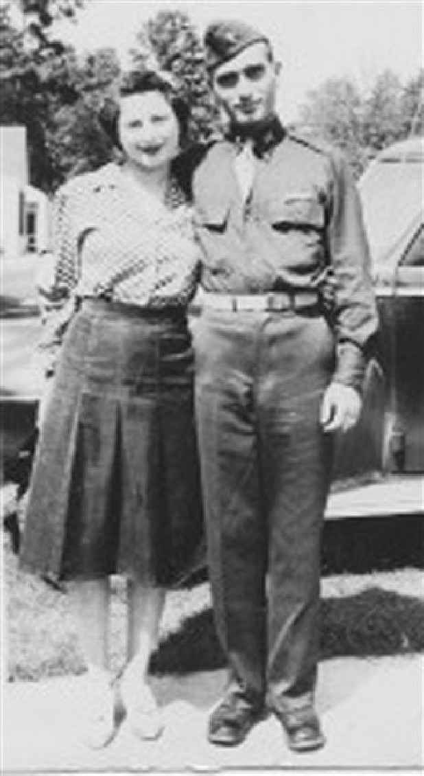 2nd Lt. Hyman Markel stands with his bride, Celia Markel. Markel was a rabbi's son, brilliant at mathematics, the brave winner of a Purple Heart who died in 1945. Markel was killed on May 3, 1945, in Italy's Po Valley while fighting German troops as an officer with the 88th Division of the 351st Infantry Regiment.