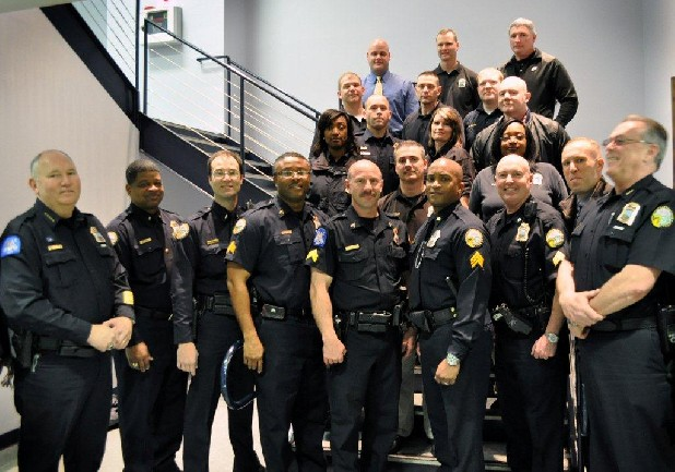 The Chattanooga Police Department promoted the 20 officers shown here.