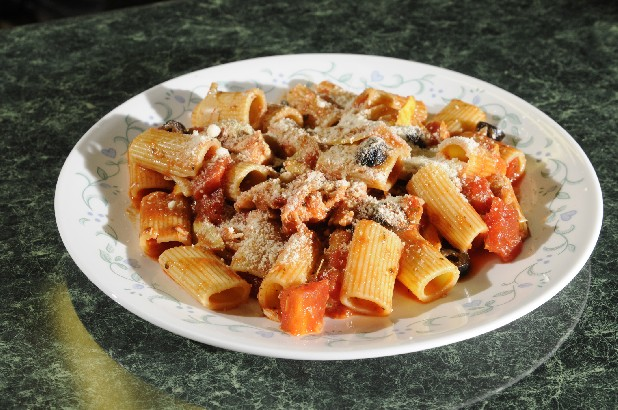 Sicilian Chicken Rigatoni can be made with ground beef, turkey and pork meatballs, or it can be served meatless.