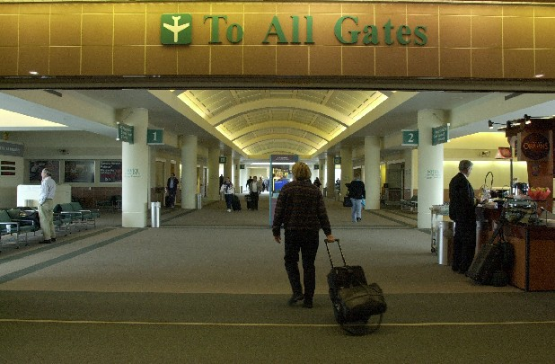 People walk through Chattanooga Airport's only concourse.
