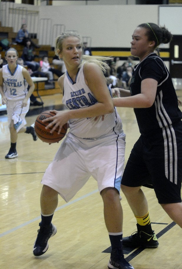 McMinn Central's Bailey Gray goes past East Hamilton's Juliette Harp Wednesday at McMinn County High School.