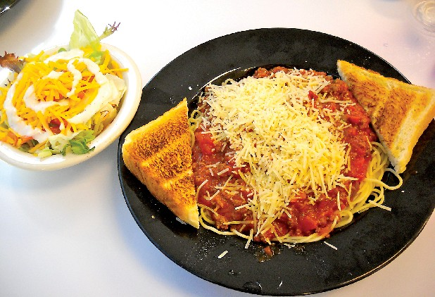 Spaghetti with salad is a daily special at Track's End Restaurant on Amnicola Highway.