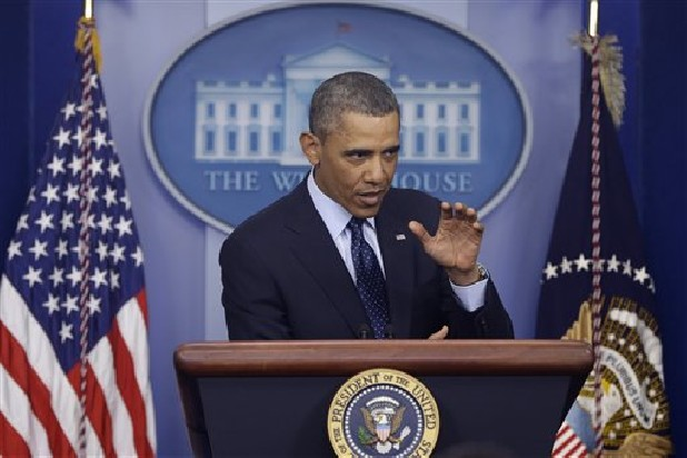 President Barack Obama speaks to reporters Friday after meeting with congressional leaders regarding the automatic spending cuts at the White House in Washington D.C.
