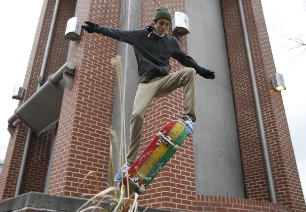 Austin Noonan skateboards near Battle Academy Friday in downtown Chattanooga.