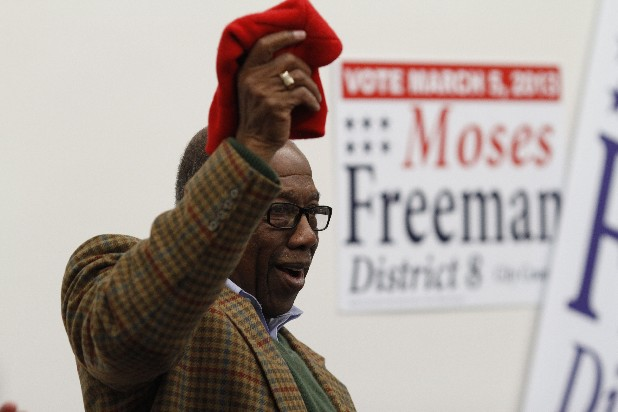 Moses Freeman celebrates with supporters while at the Southside Democratic headquarters after winning the District 8 Chattanooga city council position during Tuesday's elections.