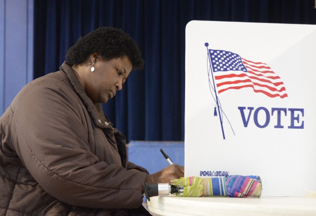 Alizia Worsham votes Tuesday at the Bethlehem Center.