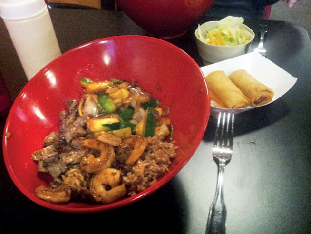 The steak and shrimp bowl, salad and spring rolls make for a filling meal at MoMo Hibachi Japanese Grill.