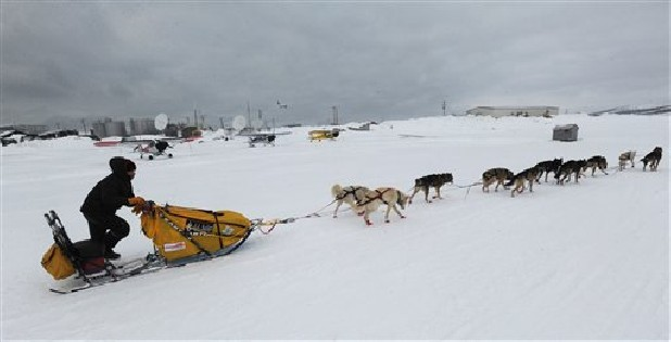 Mitch Seavey was the first musher to leave the checkpoint at Unalakleet on Sunday during the Iditarod Trail Sled Dog Race.