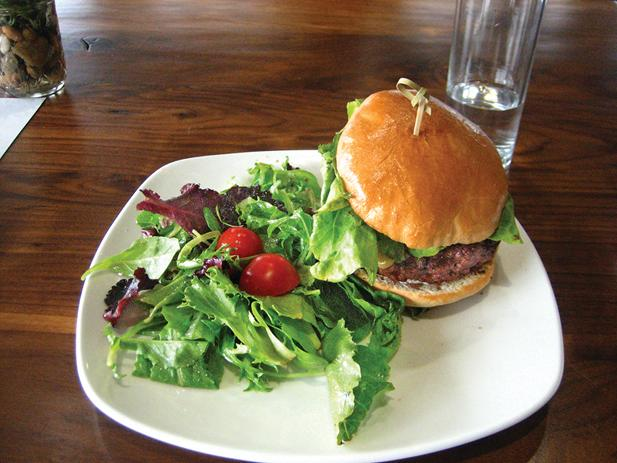 Elemental's farm burger is made with locally sourced, grass-fed beef butchered and ground on-site.