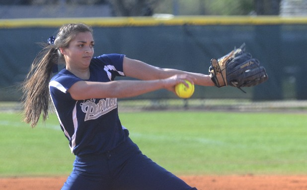 Liana Rodrigues of CSAS pitches against Baylor Tuesday at Warner Park.