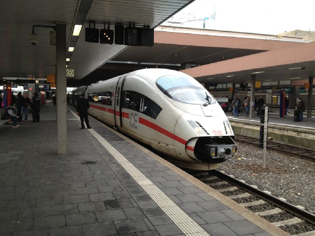Germany's DB ICE train arrives at the Dusseldorf train station. The trains are capable of going up to 180 miles per hour.