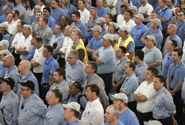 Volkswagen Chattanooga employees stand in this file photo.