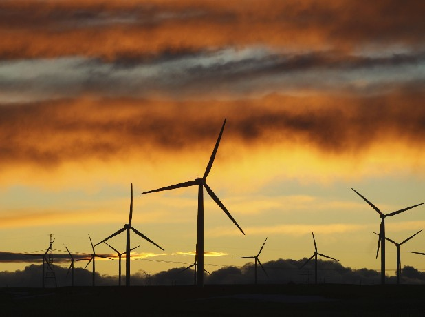 This 2010 photo photo shows a wind farm outside Cheyenne, Wyo. A Houston company is proposing a wind project that could provide power to the Tennessee Valley.