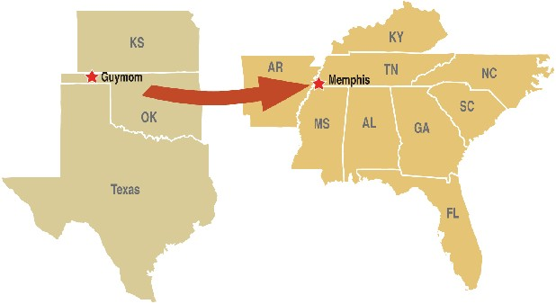 The proposed Plains & Energy transmission line would carry 3,500 megawatts of electricty — enough to power 1 million homes — from wind mills in Western Oklahoma to power users in the Tennessee Valley.