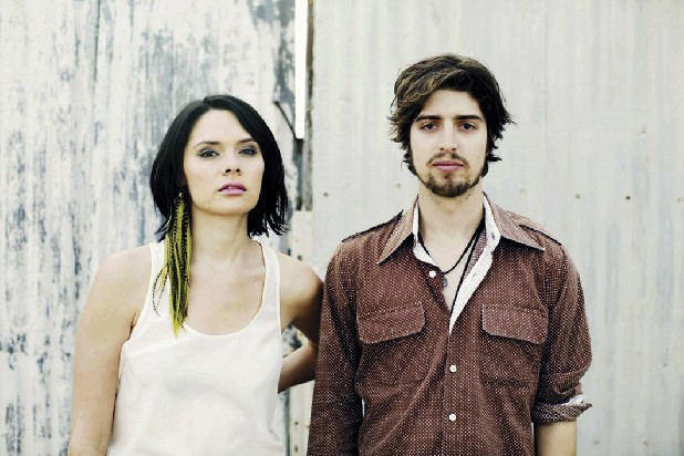 The Los Angeles duo of Suzanne Santo (vocals, banjo, violin), left, and Ben Jaffe (vocals, guitar) are HoneyHoney.