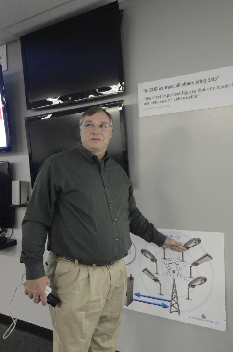Dan Lepard president and CEO talks at Global Green Lighting about the cityu0027s lighting system.  sc 1 st  Chattanooga Times Free Press & Still on the radar: Global Green Lightingu0027s Wi-Fi light | Times Free ...