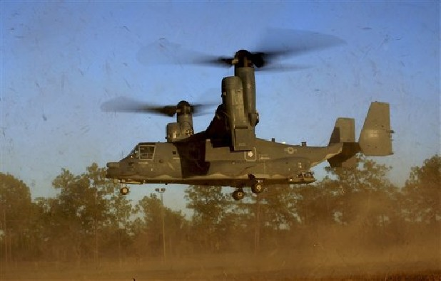 "A CV-22 Osprey aircraft of the 8th Special Operations Squadron (SOS) ""Black Birds"" comes in for a landing during a local training mission at Hurlburt Field, Florida in this 2011 file photo released by the U.S. Air Force."