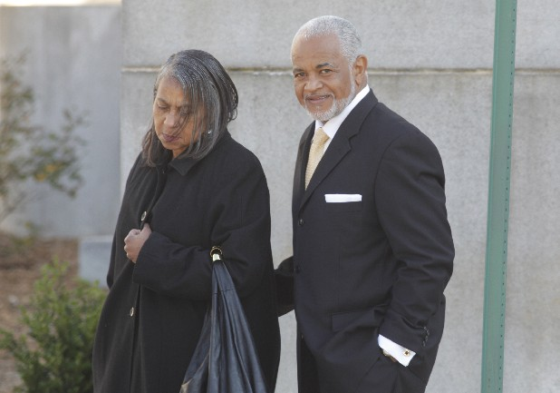 James Mathis, accompanied by his wife, leaves the Federal Courthouse in this 2012 file photo.