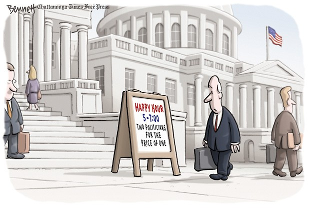 Sign on Capitol Steps:  Happy Hour, 5-7 p. m.  Two politicians for the price of one.