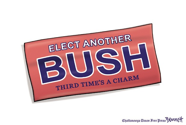 Cartoon of bumper sticker:  Elect another BUSH:  Third Time's a Charm