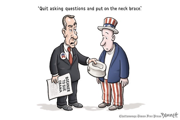 Boehner to America:  Quit asking questions and put on this neck brace.