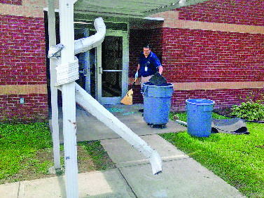 The Down Spout At Westview Elementary School Was Damaged From Aaron Rodens Alleged Rampage