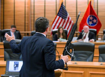 Mike Stewart brings semi-automatic rifle to committee
