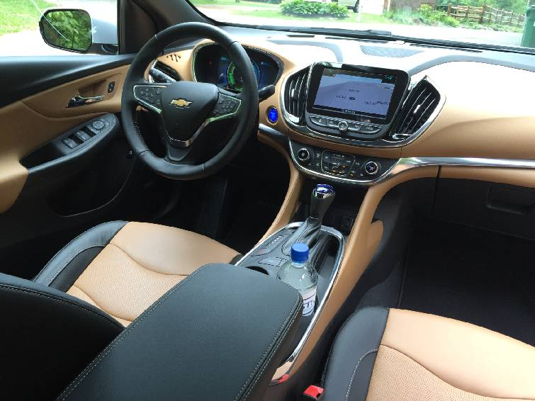 The Interior Of Chevrolet Volt Features Two Tone Upholstery And A Wing Like Dash Design
