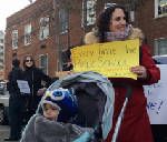 Protesters meet new education secretary as she visits school