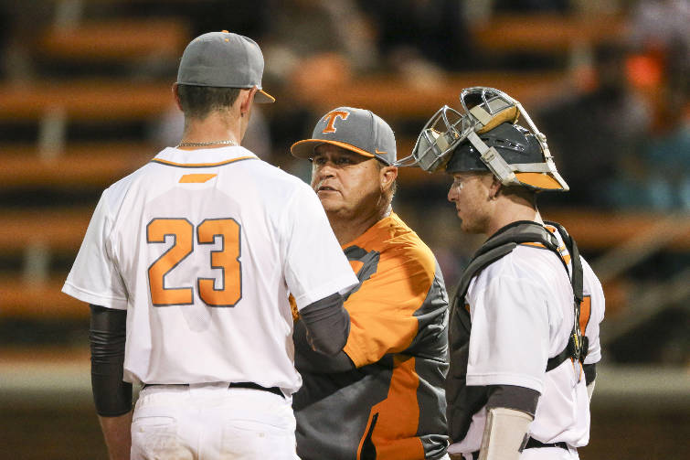 Baseball vols have work to do to reach sec tournament times free press tennessee baseball coach dave serrano center talks with pitcher zach warren as catcher tyler schultz looks on during a home game against ole miss last malvernweather Gallery