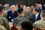 Trump reviews military forces in South Korea amid tensions