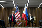 His Asia trip winding down, Trump meets with allies