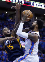 'Playoff P' Paul George scores 36, leads Thunder past Jazz