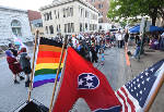 People gather outside Chattanooga City Hall to remember victims of Pulse nightclub shooting