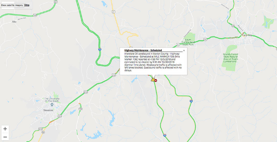 TDOT closing two lanes of I-24 west Thursday near Monteagle ... on map of ohio counties with names, map of i-40, map of i 85 south, map of route 24,