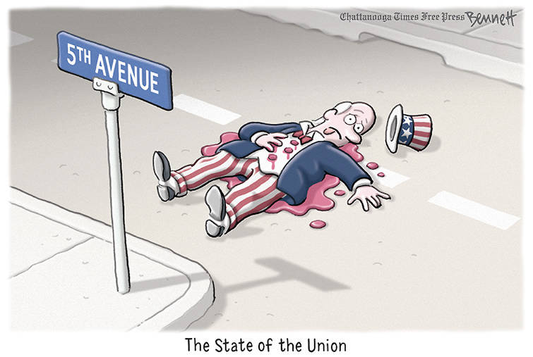 Title:  State of the Union.  Image:  Uncle Sam lying shot dead on Fifth Avenue
