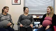 Moms-to-be teach each other in monthly group prenatal visits